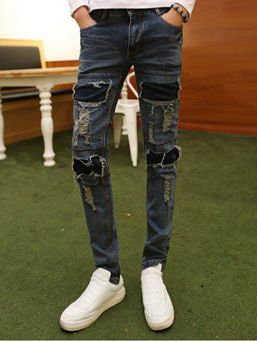 Cheap Slimming Zip Fly Applique Distressed Jeans