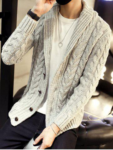 Cheap Shawl Collar Cable Knitted Cardigan - 2XL GRAY Mobile