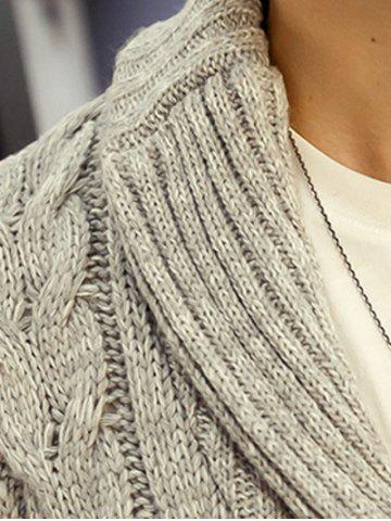 Trendy Shawl Collar Cable Knitted Cardigan - L GRAY Mobile