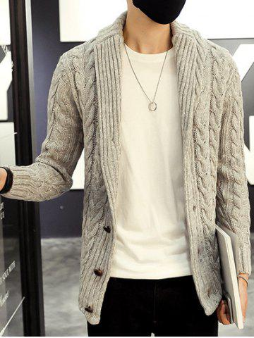 Sale Shawl Collar Cable Knitted Cardigan - L GRAY Mobile