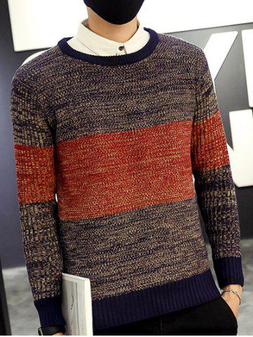 Outfit Round Neck Color Block Ribbed Knitted Sweater