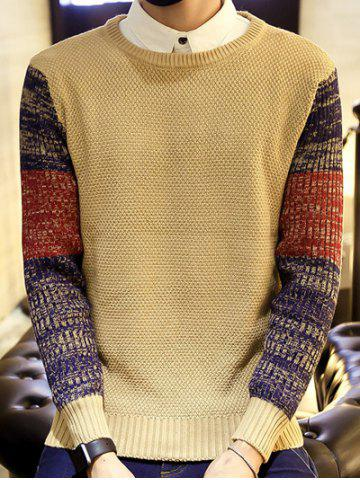 Ribbed Knitted Round Neck Color Block Sweater