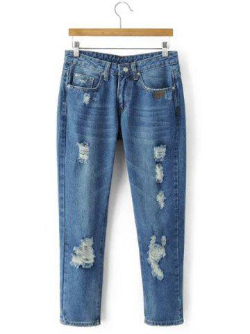 Fitted Ripped Distressed Jeans - DENIM BLUE XL
