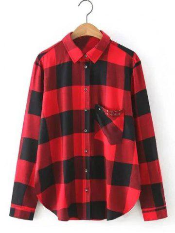 Shop Rhinestone Pocket Loose Checked Shirt