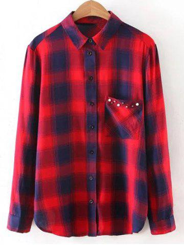Hot Button Up Pocket Loose Checked Shirt RED S