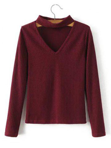 Sale Chocker Cut Out Knitted Sweater