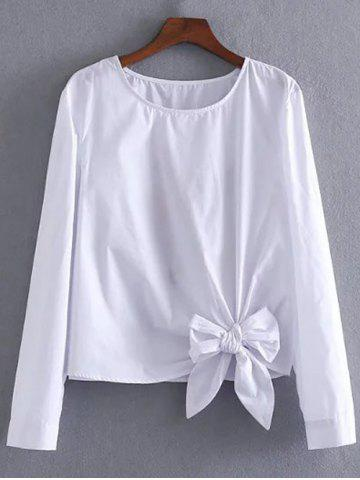 Affordable Bowknot Embellished Embroidery Blouse WHITE L