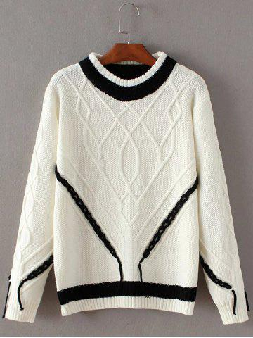Latest Knit Cable Color Block Sweater WHITE ONE SIZE