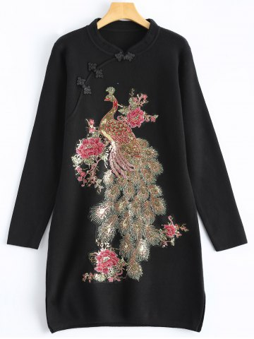 Online Vintage Plus Size Glitter Sequin Jumper Dress with Sleeves BLACK ONE SIZE