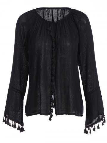Store Long Flare Sleeve Tassel Cuff Blouse BLACK 2XL