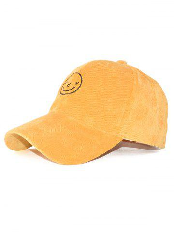 Trendy Smiling Face Embroidery Corduroy Baseball Hat