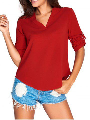 Best V-Neck Asymmetrical Loose-Fitting Blouse RED 2XL