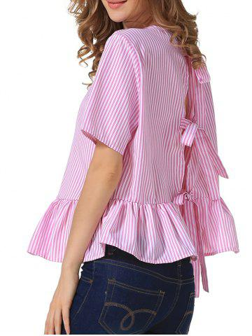 Chic Loose Back Tie Stripe Flouncing Blouse RED L