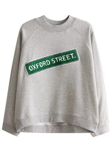 Shops Loose Oxford Letter Sweatshirt GRAY S