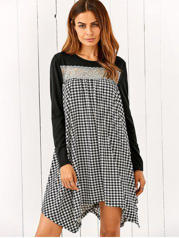 Outfits Lace Patchwork Houndstooth Asymmetrical Dress