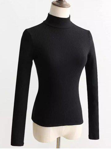 Lace-Up Mock Neck Knitted Sweater - Black - M