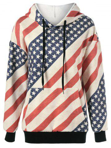 Fashion American Flag Distressed Drawstring Hoodie