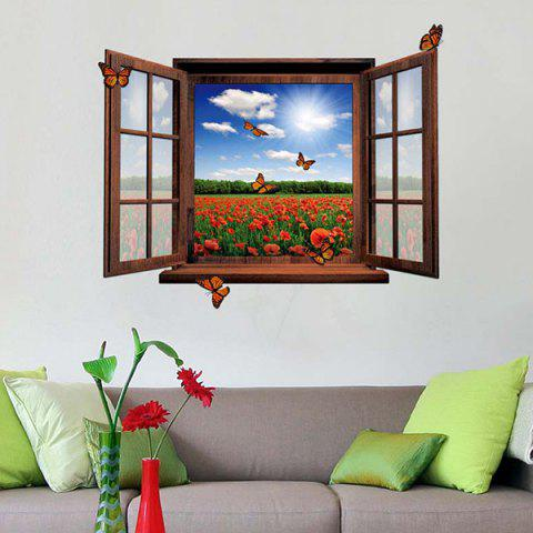 Unique 3D Stereo Removable Countryside Scenery Window Design Wall Stickers