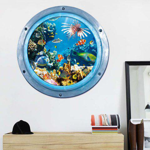 Store 3D Stereo Sea World Toilet Home Decor Wall Stickers - BLUE  Mobile