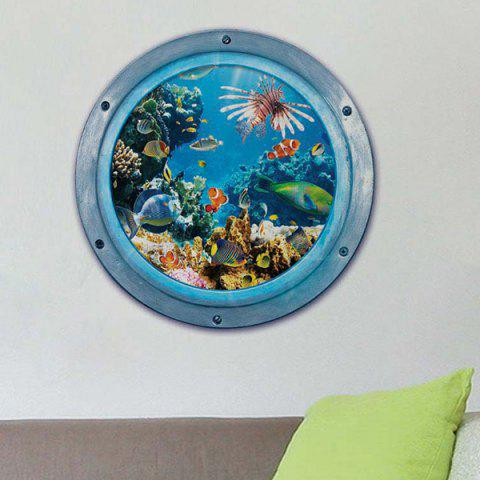 Online 3D Stereo Sea World Toilet Home Decor Wall Stickers - BLUE  Mobile