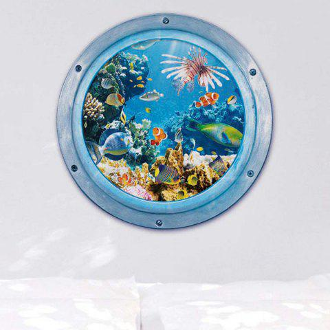 Outfit 3D Stereo Sea World Toilet Home Decor Wall Stickers - BLUE  Mobile