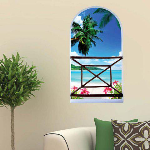 Cheap Home Decor3D Stereo Seaside Landscape Window Design Wall Stickers
