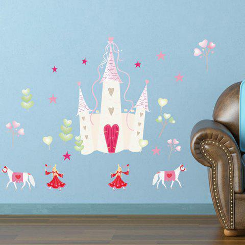 European Castle Kids Room Wall Stickers - Pink - 137*70cn-m