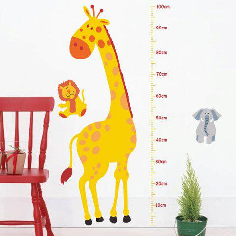 Cartoon Giraffe Height Measure Animal Wall Decals Kids Room - Yellow - 55*13cm