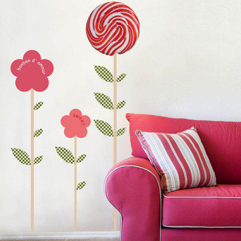 Cheap Waterproof Lollipop Floral Design Removable Wall Stickers