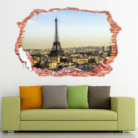 Outfit 3D Stereo Removable Eiffel Tower Landscape Wall Stickers