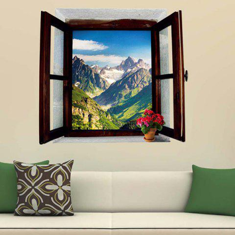 Trendy 3D Stereo Removable Mountain Scenery Window Design Wall Stickers