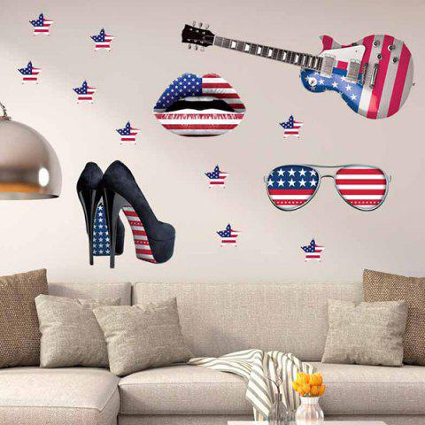 Hot 3D Stereo Removable Accessory Flag Design Living Room Wall Stickers BLUE AND RED