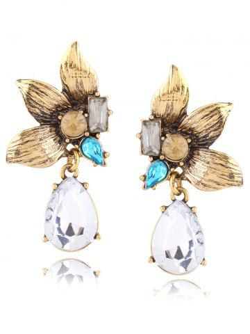 Trendy Rhinestone Faux Gem Flower Leaves Earrings