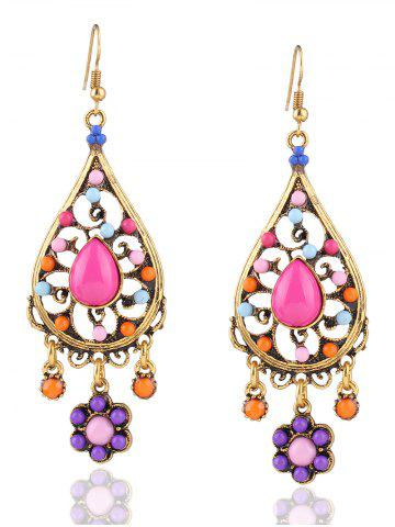 Fancy Floral Water Drop Beads Layered Earrings