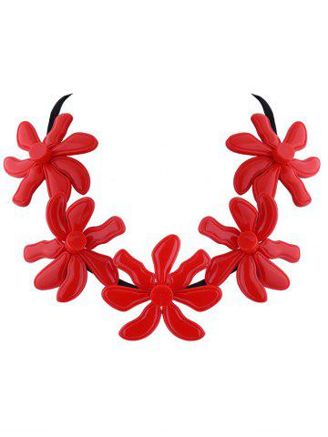 Trendy Resin Flower Embellished Necklace RED