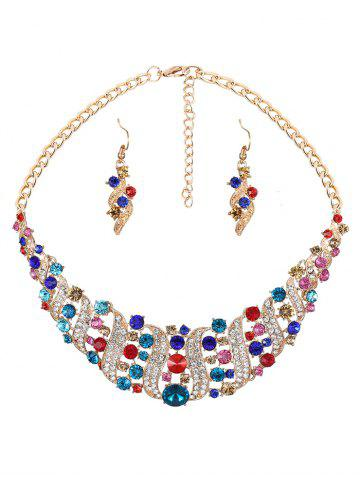 Outfit Hollow Out Rhinestoned Jewelry Set