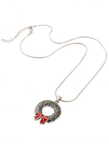 Outfit Alloy Bows Circle Christmas Pendant Necklace