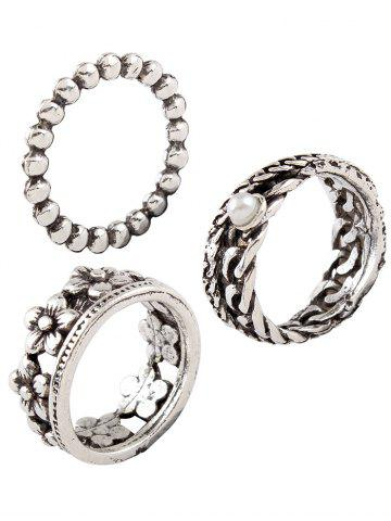 Latest Vintage Faux Pearl Circle Flower Rings