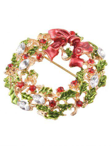 Trendy Rhinestone Bows Leaves Christmas Brooch - GOLDEN  Mobile