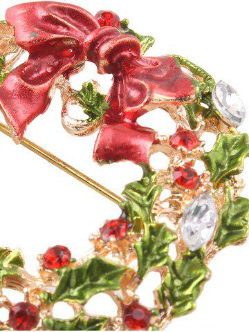 Unique Rhinestone Bows Leaves Christmas Brooch - GOLDEN  Mobile