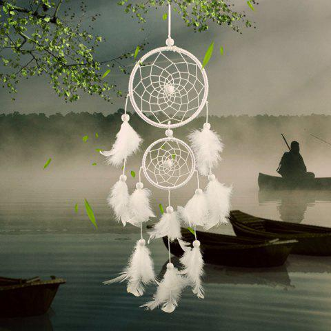 Trendy Double Circular Net With Feathers Dreamcatcher Wall Hanging Decor