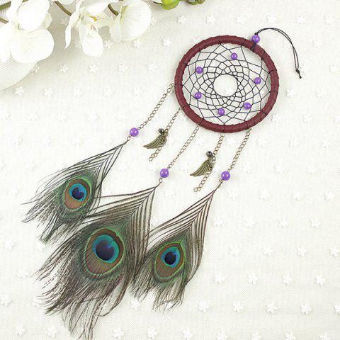 Hot Circular Net With Peacock Feathers Dreamcatcher Wall Hanging Decor - COLORMIX  Mobile
