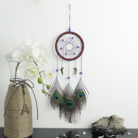 Buy Circular Net With Peacock Feathers Dreamcatcher Wall Hanging Decor COLORMIX