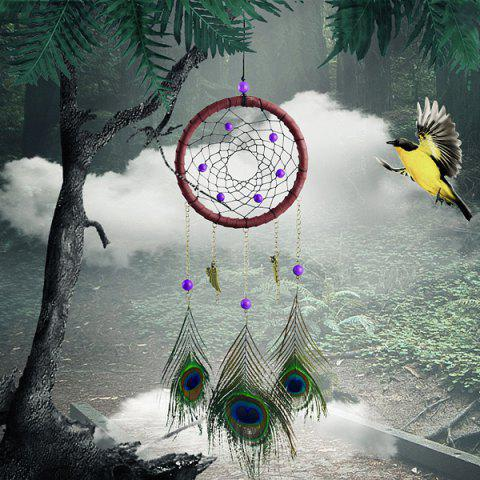 Best Circular Net With Peacock Feathers Dreamcatcher Wall Hanging Decor - COLORMIX  Mobile