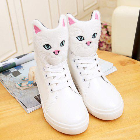 Trendy Cartoon Cat Lace-Up PU Leather Boots