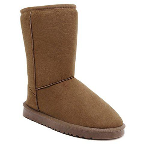 Store Concise Flat Heel Fold Down Snow Boots LIGHT BROWN 40