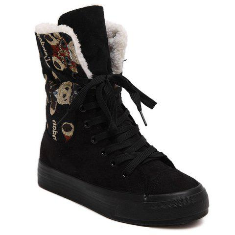 Latest Bear Jacquard Platform Suede Mid-Calf Boots