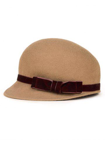 Affordable Outdoor Velvet Bowknot Band Horsemanship Hat CAMEL
