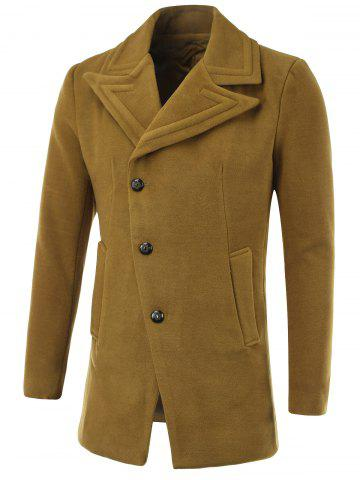 Trendy Geometric Turn-Down Collar Single-Breasted Wool Coat
