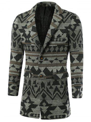 Fancy Geometric Pattern Lapel Single-Breasted Wool Coat